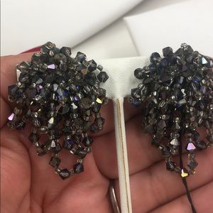 Iridescent Gray Faceted Crystal Waterfall Earring